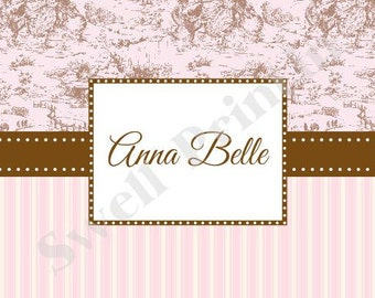 10 Notecards - Pink & Brown Toile notecards - Stationery by Swell Printing