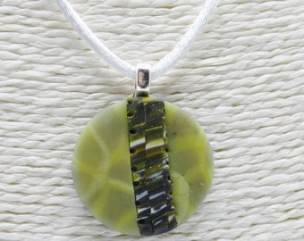 Yellow pendant necklace in polymer clay
