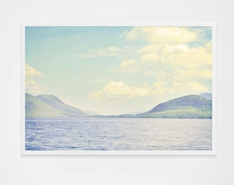 """Lake George Print // Large Photography // Blues, Light Blues Navy Lake Print Living Room Wall Art // Oversize Art  """"Greetings from Nowhere"""""""
