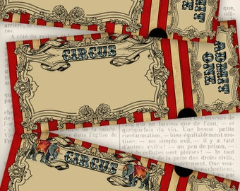 Circus Invitation Tickets circus party printable paper crafting scrapbooking add text instant download digital collage sheet - VDINCI1020
