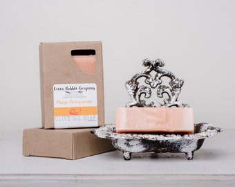 Olive Oil Soap, Mango Pomegranate Olive Oil Soap, Vegan Soap, made with Organic Oils by Green Bubble Gorgeous on Etsy
