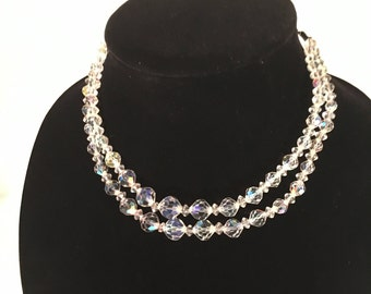 Vintage Clear Crystal Double Strand Necklace Choker Great for Wedding Prom or Evening on The Town