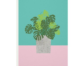Monstera Plant Greetings Card