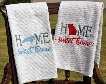 Embroidered Kitchen Towel, Home Sweet Home, Housewarming Gift, Kitchen Decor, Home Decor, Moving Away Gift