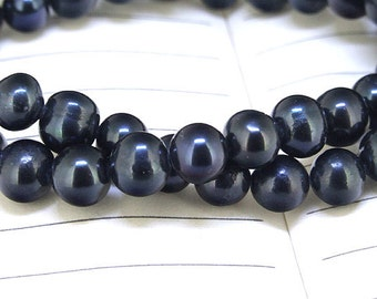 """One Full Strand--- Luster Black Pearl Pure Freshwater Pearl----7mm----about  55Pieces----14.5"""""""