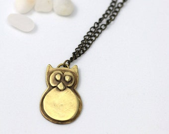 Owl pendant necklace, Owl jewelry, Brass Owl, Animal lover gift, Owl lover gift, Woodland Animals, Owl gifts, Cute necklace, gift for mom