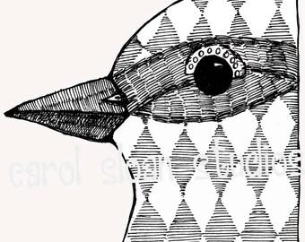 Illustrated Bird with Diamond Pattern Illustration