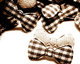 """100pcs x 7/8"""" Brown Gingham Cotton Bow Padded/Appliques"""