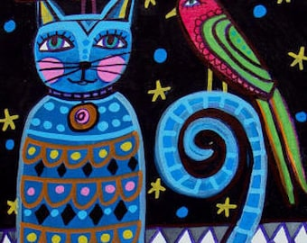 SALE NOW- Blue Cat Art Poster Print of Painting  Heather Galler