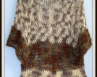 SWEATER WOMENS KNITTED Loose Baggy  Cropped Handmade BoHo  Grunge Short Shades of Brown Reversible Oversized Swimsuit Cover up