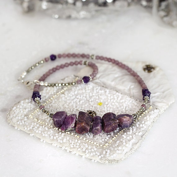 Raw Sapphire Necklace - Purple Statement Necklace