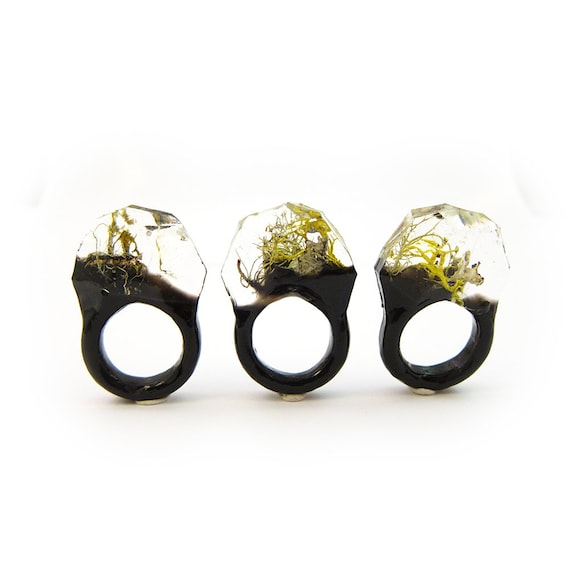 Moss Resin Ring • Nature Inspired Rings • Terrarium Ring • Terrarium Moss Jewelry • Botanical Ring •  • Size 7
