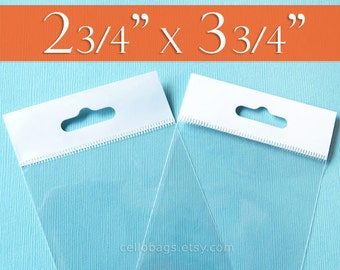 """300 Clear Cello Bags, 2.75 x 3.75 Inch HANG TOP: Resealable Adhesive for Display or Pegboard, Trading Card Clear Packaging (2 3/4"""" x 3 3/4"""")"""