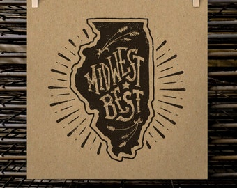 "Midwest Best - Illinois  |  12"" x 12"" Screen Print"