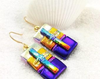 Dichroic rainbow glass earrings, fused glass art, dichroic fused jewelry, dichroic glass beads, christian jewelry, rainbow earrings, fusion