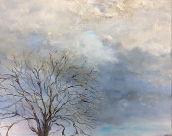 Oil painting, Eye in the Sky, Indiana painting, Midwestern painting