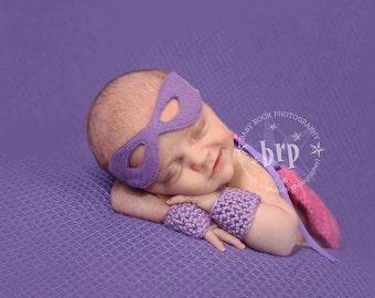 Newborn Girl Superhero Cape and Mask/ Supergirl Photo Prop/Newborn Cape/Baby Girl Photo Prop