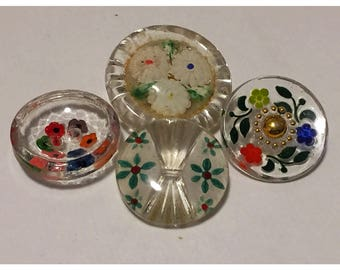 Set of 4 Clear Glass Buttons with Hand Painted Flowers, Collectible Transparent Glass Buttons with Painted Flowers, item 406