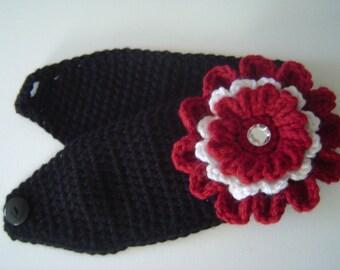 Hand Crocheted Headband/Flower in Your School Colors