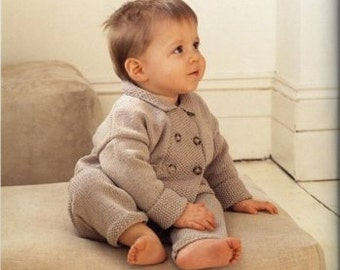 baby knitting pattern  Double Breasted Jacket and Leggings Pattern3 / 24 m  4 ply    instand download