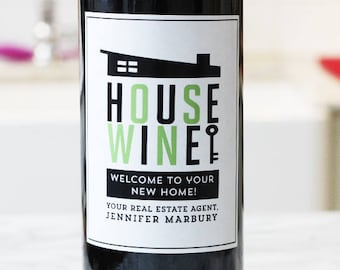 Wine Label Favors for Real Estate Agents, New Home,Mid Century House, Set of 18