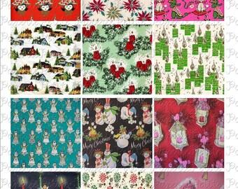 Vintage Christmas Paper Digital Download Collage Sheet 2.5 x 2.5 inch