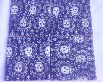 Set of 4 handmade ceramic coasters - Skulls design