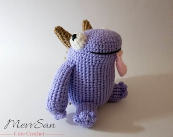 Crochet PATTERN PDF - Amigurumi Meara the Monster - crochet monster pattern, cute crochet amigurumi monster plush, monster softie