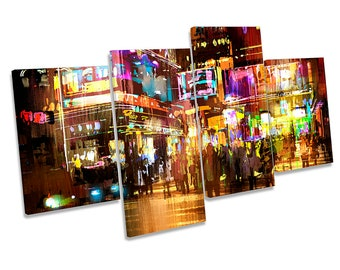 City Abstract Urban Modern Framed MULTI CANVAS PRINT Wall Art