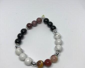 Mookaite/Black Tourmaline/Howlite Reiki-infused bracelet