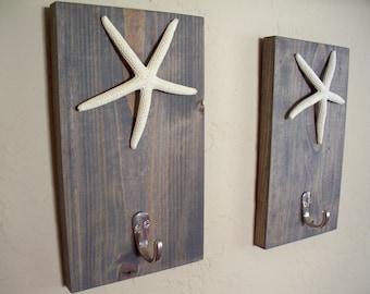 Starfish hooks on wood (2), beach themed coat rack, bathroom towel hooks, housewarming gift, rustic wood boards