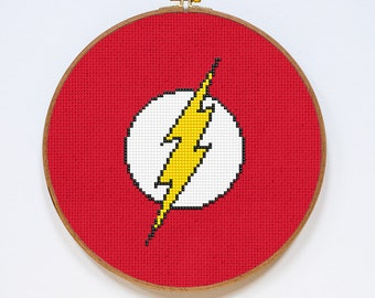 Flash Cross Stitch Pattern, Superhero Symbol Counted Cross Stitch Chart, Sign, Justice League, PDF Format, Instant Download