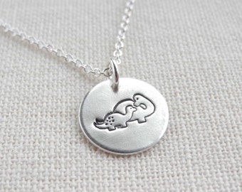 Tiny Mother and Baby Dinosaur Necklace, New Mom Necklace, Fine Silver, Sterling Silver Chain, Made To Order