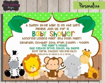 Jungle Baby Shower Invite, Jungle Baby Shower Invitation, Jungle Baby Shower, Safari Baby Shower, Safari Baby Shower Invite, DIGITAL FILE