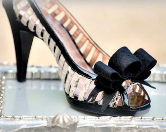 Tuxedo Shoe Clips, Hair Bows, Pins. Couture Bride Bridal Bridesmaid, Black Tie Affair Noir, Feminine Date, Preppy Teen Birthday Party Ruffle