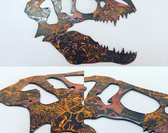 Metal Dinosaur Head, Dinosaur Fossil, Dino Skeleton, Metal Art, Jurassic Park, Jurassic World, Chris Pratt, T-rex, Boys Room Decor,