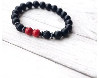 Matte onyx| Onyx bracelet| Coral bracelet| Gemstone bracelet| Men's bracelet| Gift for him| 8mm bracelet| Men's bracelet| Beaded bracelet