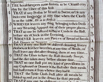 Irish Linen Tea Towel. Rules to be observed in the servants hall. Clandon Park