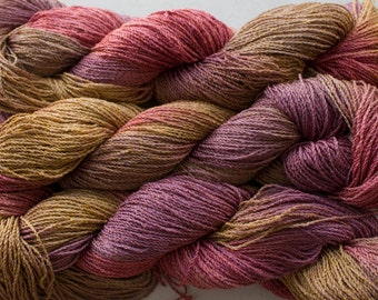 Hand painted yarn, Nuthatch, fine cotton/rayon cable - Sandstone