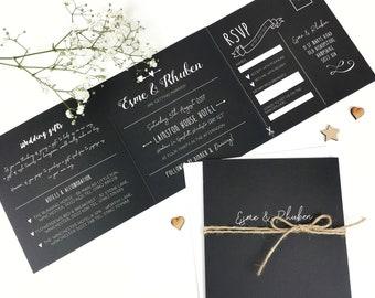 Chalkboard Wedding Invitation and RSVP set