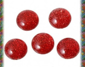 50 dome 12 mm black, red or blue glitter cabochons