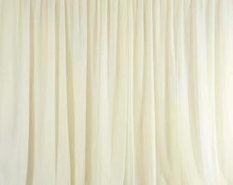 10 feet x 10 feet Ivory Sheer Voile Backdrop,Wedding Ceremony Party Home Decorations,Sheer Organza Curtain Panel Backdrops   -BD005