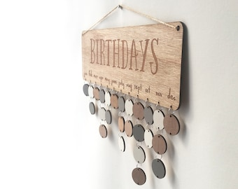 Natural Wood Birthday Board ~ Family & Friends or Birthdays