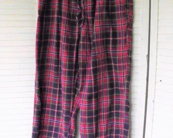 Flannel Sleep Pants/ Perry Ellis Retro/ Thrift Flannels/ Plaid Flannels/ Cotton Flannel PJs/ Funky Flannels/ Shabbyfab Funwear
