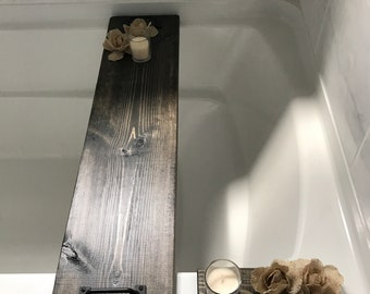Rustic wood shabby chic tub tray, clawfoot tub shelf, with black handles, burlap flowers and votive candle, accessory candle holder