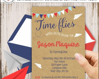 Airplane Birthday Invitation, Paper Airplane First Birthday,  Paper Plane, How time flies, Editable, INSTANT DOWNLOAD