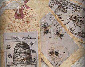 4 Vintage Style Bumble Bee Gift Tags Nature Themed Gift Tags All Occasion Handmade Tags Distressed Altered Collage Bookmark