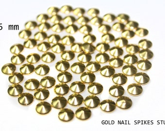 150 Gold Nail Art Studs Spikes Rhinestuds for Iron On or Glue On 6 mm