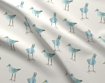 Two Blue Birds Fabric - Two Blue Birds By Lorose - Summer Beach Bird Decor Cotton Fabric By The Yard With Spoonflower