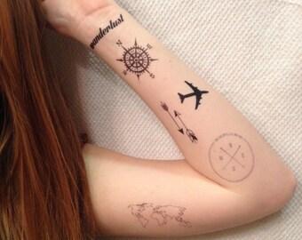 6 Travel Temporary Tattoos Pack - SmashTat